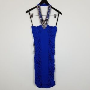 bebe Dresses - bebe Ruched Bodycon Royal Blue Beaded Dress A0102